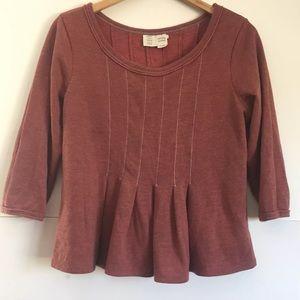 Saturday Sunday Pleated Peplum Sweater Top
